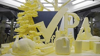A nearly 1,000-pound butter sculpture created by Jim Victor of Conshocken, Montgomery County, on display at the Pennsylvania Farm Show on Thursday.