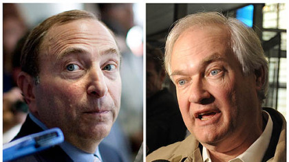 NHL Commissioner Gary Bettman, left, and Donald Fehr, executive director of the NHL Players' Association. Both sides said they reached a tentative agreement early Sunday.