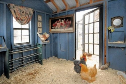 Chicken coop with artwork provides the perfect setting for heirloom and exotic hens to lay their eggs.