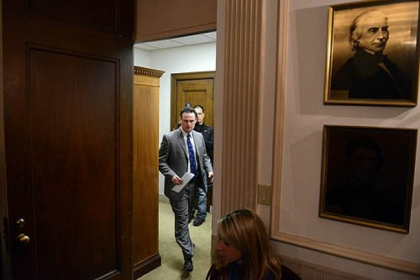 Mayor Luke Ravenstahl enters the room before the start of a news conference about Police Chief Nate Harper's resignation.