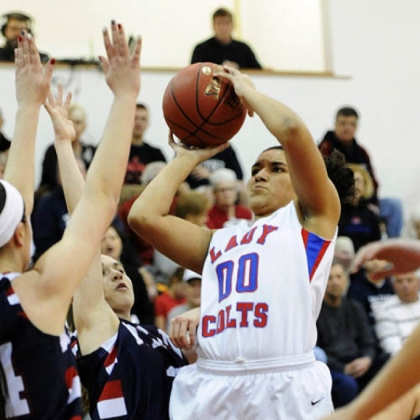 Chartiers Valley's Mariah Wells takes a shot against Shaler.
