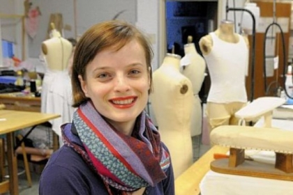 "Carnegie Mellon University graduate student Albulena Borovci, in the costume shop in Purnell Center for the Arts, has received national recognition for her costume designs for ""The Rivals."""