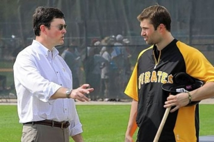 Owner Bob Nutting, talking with Neil Walker Wednesday at Pirate City.
