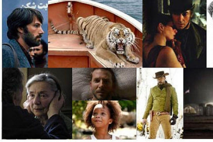 "Clockwise from top left: ""Argo,"" ""Life of Pi,"" ""Les Miserables,"" ""Lincoln,"" ""Zero Dark Thirty,"" ""Django Unchained,"" ""Silver Linings Playbook"" (top), ""Beasts of the Southern Wild,"" ""Amour."""