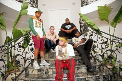 "Mac Miller, front, with, from left, Quentin Cuff, Jimmy Murton, Big Dave and Peanut hang out in LA for the MTV2 reality show ""Mac Miller and the Most Dope Family."""