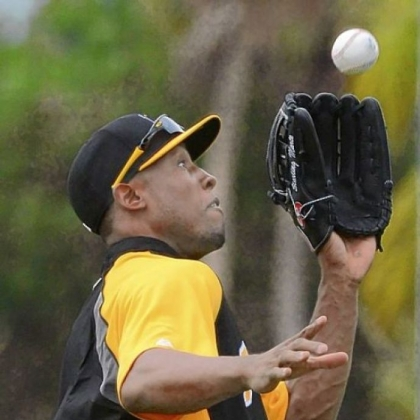 Pirates left fielder Starling Marte makes a running catch during outfield drills at spring training in Bradenton, Fla.