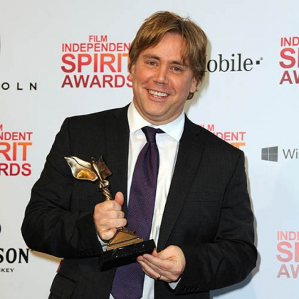 "Director Stephen Chbosky poses backstage at the Independent Spirit Awards with the award for best first feature for ""Perks of Being a Wallflower."""