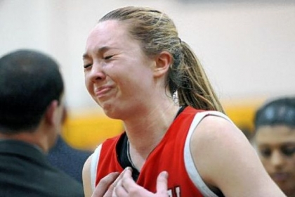 Fox Chapel&#039;s Erin Mathias reacts after losing, 45-42, to Mt. Lebanon in the WPIAL Class AAAA quarterfinal.