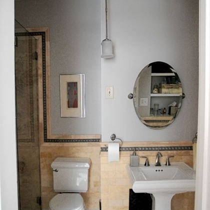 The renovated guest bathroom in the home of Linda and Peter Floyd in Sewickley.