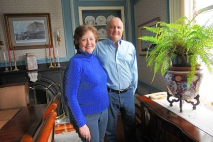 Linda and Peter Floyd in the dining room of the Sewickley home they are renovating.