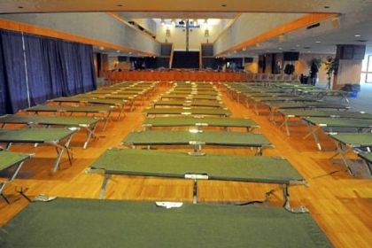 Cots are set up for students in the ballroom of the Duquesne Union.