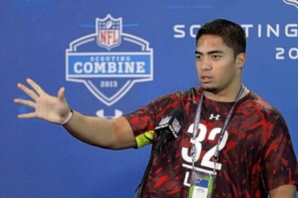 Manti Te&#039;o faces the media Saturday in Indianapolis.