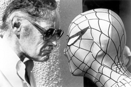 Stan Lee stares down his most famous creation, the Amazing Spider-man.