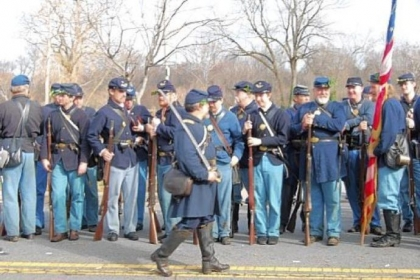 Michael Kraus of McCandless portrays a Union captain reviewing his troops at the 150th anniversary re-enactment of the Battle of Fredericksburg, Va., in December. He will portray a Union captain at the home show and at Gettysburg this summer.