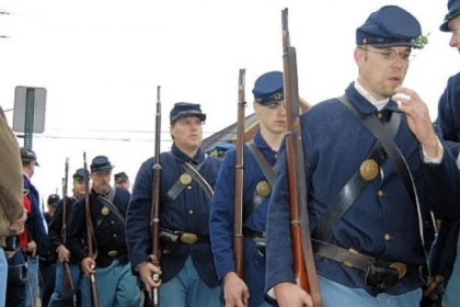 The Union's Irish Brigade wore a sprig of boxwood in their caps at the 150th anniversary re-enactment of the Battle of Fredericksburg, Va., in December. The brigade also fought at Gettysburg.