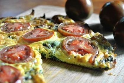 Swiss Chard and Swiss Frittata with tomatoes