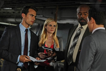 "Theo James, Bonnie Somerville, Chi McBride and Kevin Alejandro in CBS's ""Golden Boy."""