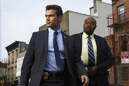 "Theo James and Chi McBride in ""Golden Boy."""