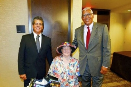 Evelyn Stypula, center, with Gary Shaheen, left, and John J. Clark during the Three Rivers Center for Independent Living dinner at the Fairmont Pittsburgh hotel Downtown on Aug. 30, 2012.