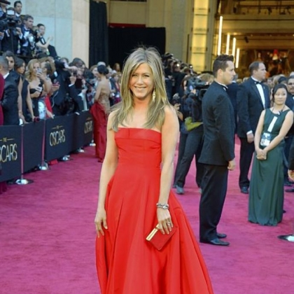Jennifer Aniston chose a fiery red dress for the Oscars.