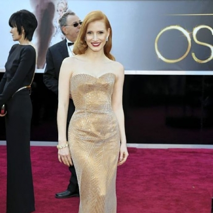 Jessica Chastain&#039;s sparkly copper Armani Prive gown set off her hair and complexion.