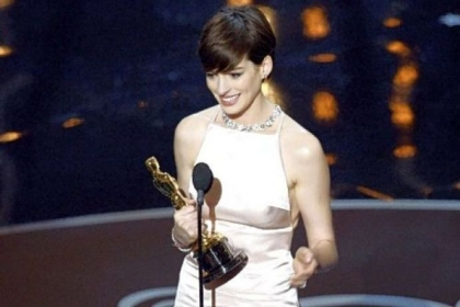 "Anne Hathaway won the Oscar for best supporting actress for her role in ""Les Miserables."""