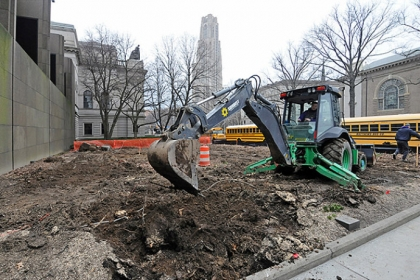 Construction has begun on a playground in front of the Carnegie Museum of Art. The playground is to be part of the 2013 Carnegie International exhibit.