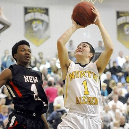 North Allegheny's Sean Hennigan drives to the net against New Castle in January.