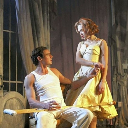 "Benjamin Walker and Scarlett Johansson are Brick and Maggie in ""Cat on a Hot Tin Roof"" at the Richard Rodgers Theatre in New York."