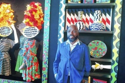 Duro Olowu with pieces from his upcoming capsule collection for J.C. Penney.