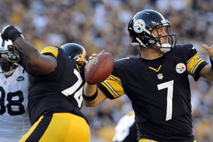 Steelers quarterback Ben Roethlisberger looks to pass against the Jets during a game at Heinz Field in September.