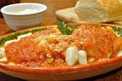 Potato gnocchi with tomato sauce.