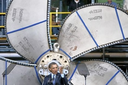 President Barack Obama speaks Tuesday during a visit to Newport News Shipbuilding in Newport News, Va. Mr. Obama spoke about the impact a spending sequester would have on the defense industry and its workers.