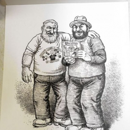 A detail of a drawing by Robert Crumb. Jerry Weber, left, and his son, Willie, of Jerry's Records in Squirrel Hill traded a rare country blues LP to the reclusive underground cartoonist Robert Crumb in exchange for an illustration of the pair.