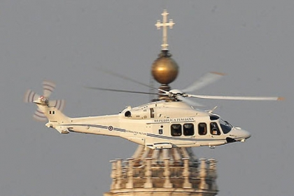 A helicopter with Pope Benedict XVI onboard leaves the Vatican in Rome today.
