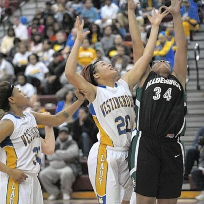 Westinghouse's Brittany Jackson (20) and Allderdice's Nisa Owens (34) reach for a rebound in City League title game.
