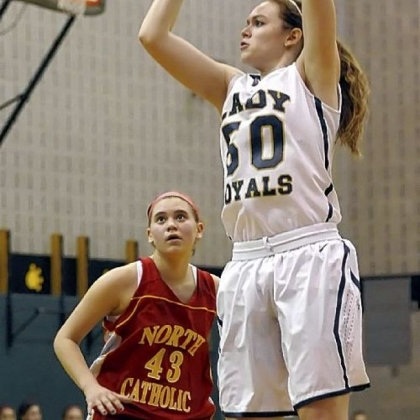 Vincentian's Brenna Wise shoots over North Catholic's Paige Kizior.