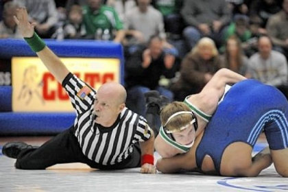 South Fayette's Mike Fetchet, pinning Burrell's Zachary Smith during WPIAL team tournament, was a WPIAL runner-up.