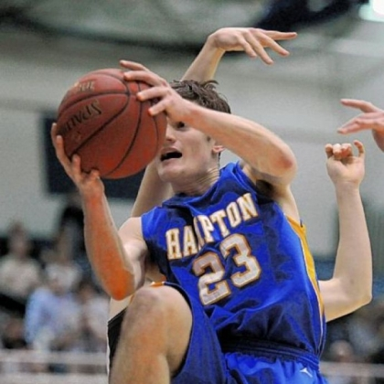 Hampton's David Huberlay goes for a layup past North Allegheny in their semi-final win.