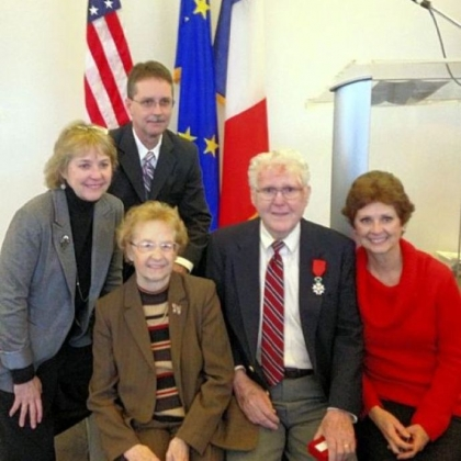 The Hughes family, from left, Patricia Hutchinson, Terry Hughes, Lucille Hughes, William Hughes and Susan Mead. William Hughes of North Huntingdon was named a chevalier of the Legion of Honor.
