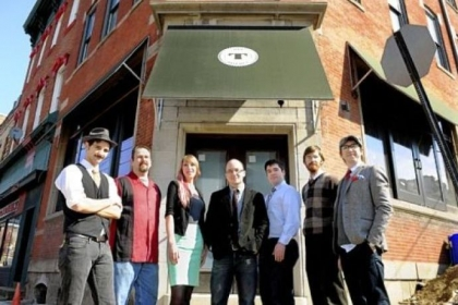 The staff of Tender, a new cocktail lounge in Lawrenceville set to open in March. Left to right: Bartenders Fredrick Arnold, Craig Mrusek and Sarah Clarke; owner Jeff Catalina; bartenders Nathan Lutchansky and Sean Rosenkrans; and general manager Jason Carr.