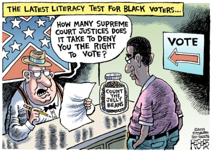 Examiner to black voter:  How many Supreme Court justices does it take to deny you the right to vote.