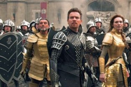 Ian McShane as King Brahmwell, left, Ewan McGregor as Elmont, Eleanor Tomlinson as Isabelle, and Nicholas Hoult as Jack.