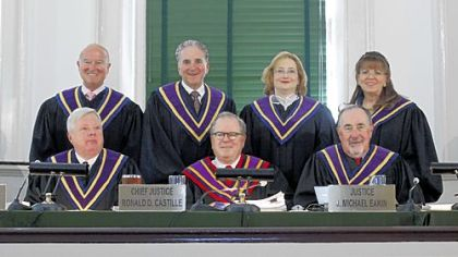 Justices of the the Pennsylvania Supreme Court in 2011, top from left: Seamus P. McCaffery, Max Baer,  Debra McCloskey Todd, Joan Orie Melvin and bottom, from left: Thomas G. Saylor, Chief Justice Ronald D. Castille, and J. Michael Eakin.
