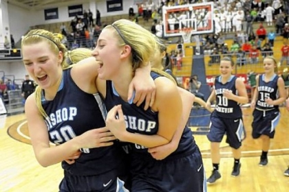 Bishop Canevin's Carly Forse and Celina DiPietro celebrate after defeating Seton-LaSalle in the WPIAL class AA championship Friday night at Palumbo Center.