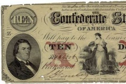 A note for 10 Confederate dollars.