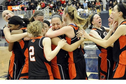 Bethel Park teammates celebrate their win against Chartiers Valley in the WPIAL class AAAA championship Saturday.