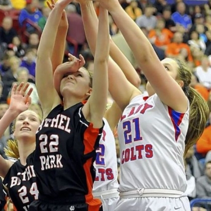 Bethel Park's Samantha Simpson fights for a rebound against Chartiers Valley's Kristin McGeough in the WPIAL Class AAAA title game Saturday at Palumbo.