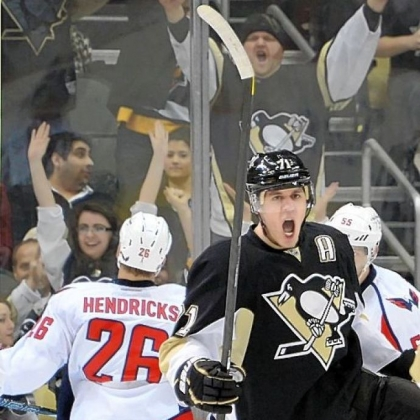 The Penguins' Evgeni Malkin celebrates a goal at Consol Energy Center.