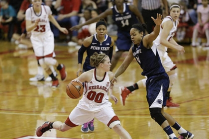 Nebraska&#039;s Lindsey Moore is guarded by Penn State&#039;s Mia Nickson, right, in the second half of the Lady Lions&#039; Big Ten regular-season title-clinching win.